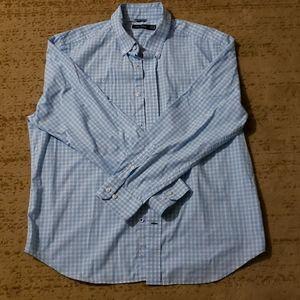 Men's Blue White Checkered XL Button Down Shirt